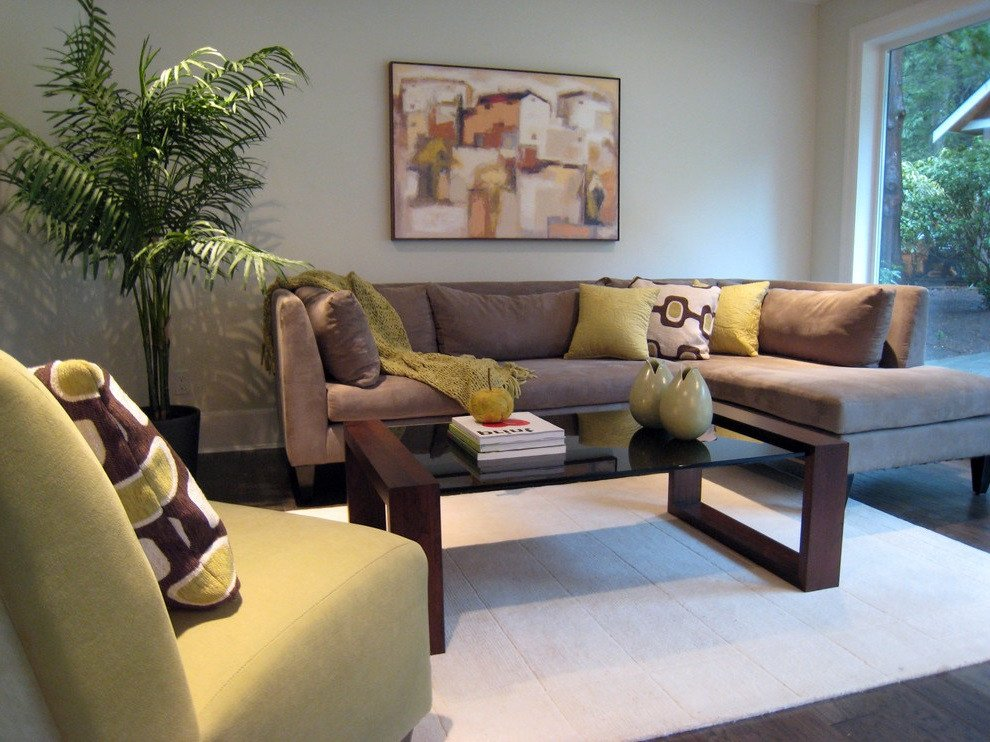 Contemporary Brown Living Room soft Brown Modern Living Room sofa 3968