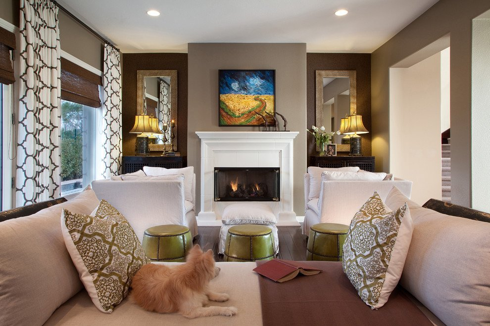 Contemporary Brown Living Room Window Treatment Ideas for Bedroom Living Room