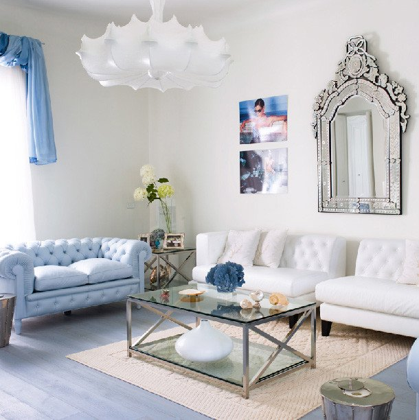 Contemporary Chic Living Room Amazing Light Blue and White Living Room