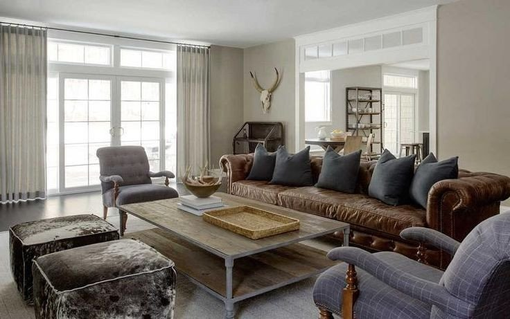Contemporary Country Living Room Modern Country Living Room Features A Long Brown