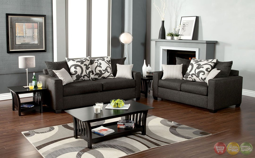 Contemporary Grey Living Room Colebrook Contemporary Medium Gray Living Room Set with