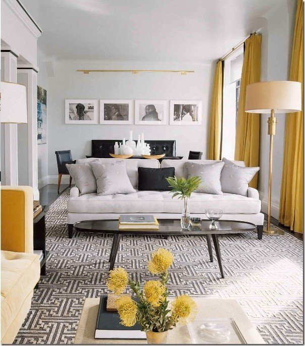 Contemporary Grey Living Room Contemporary Vintage Living Room Grey and Yellow
