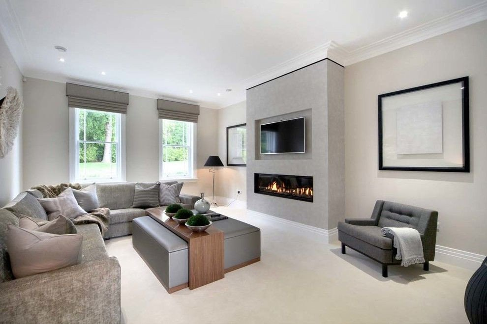 Contemporary Grey Living Room Modern Fireplace with Tv Above Living Room Contemporary