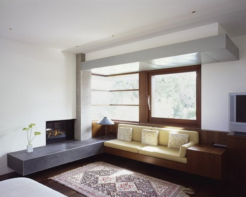 Contemporary Living Room Benches Built In Fireplace Benches