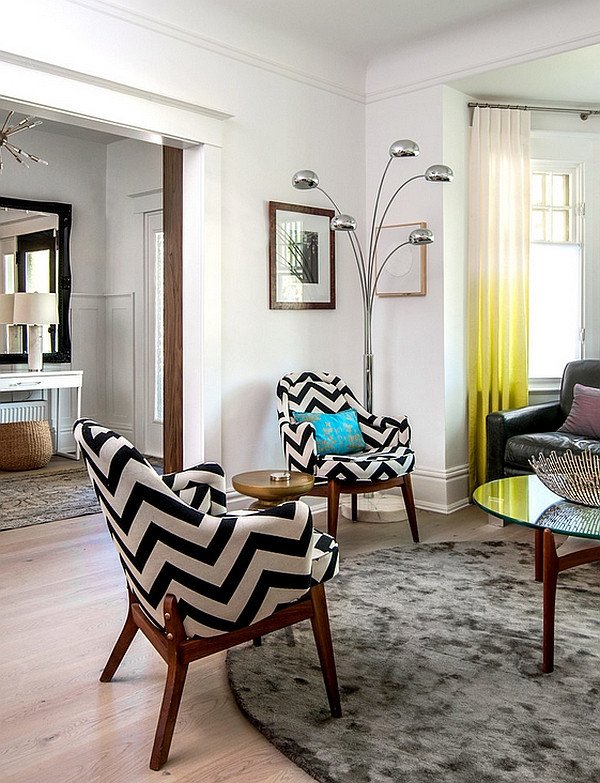 Contemporary Living Room Benches Chevron Pattern Ideas for Living Rooms Rugs Drapes and