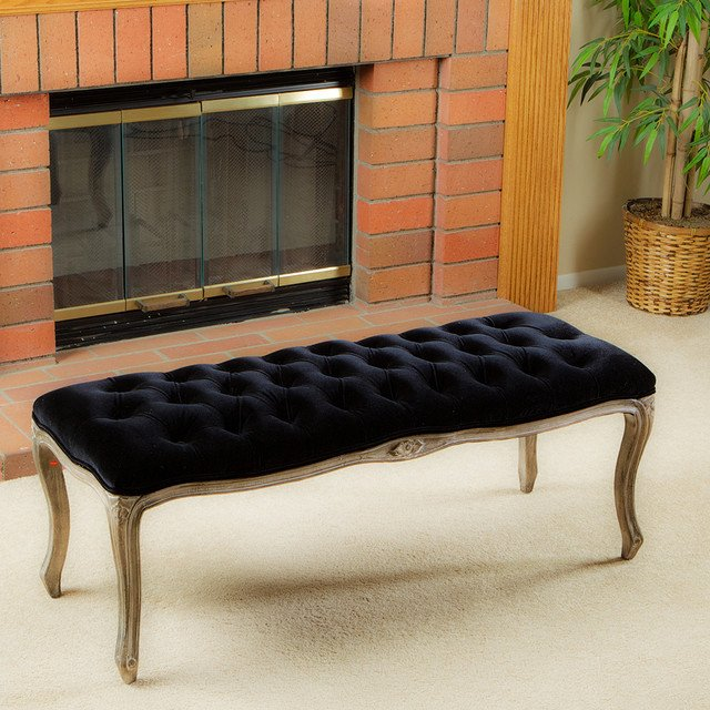 Contemporary Living Room Benches Francis Black Fabric Bench Ottoman Modern Living Room