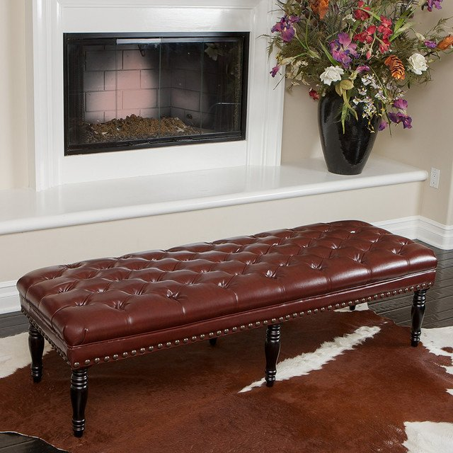 Contemporary Living Room Benches Peoria Tufted Leather Bench Modern Living Room Los