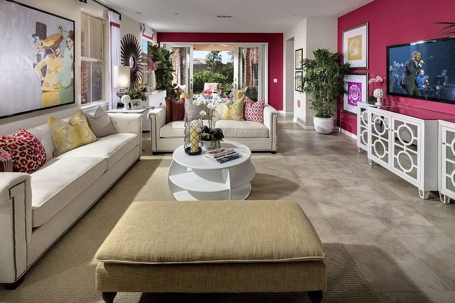 Contemporary Living Room Colors 20 Classy and Cheerful Pink Living Rooms