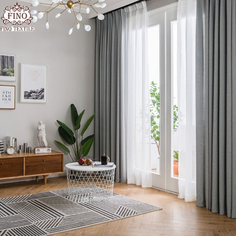Contemporary Living Room Curtains Fino nordic Gray solid Curtain Fabrics for Living Room