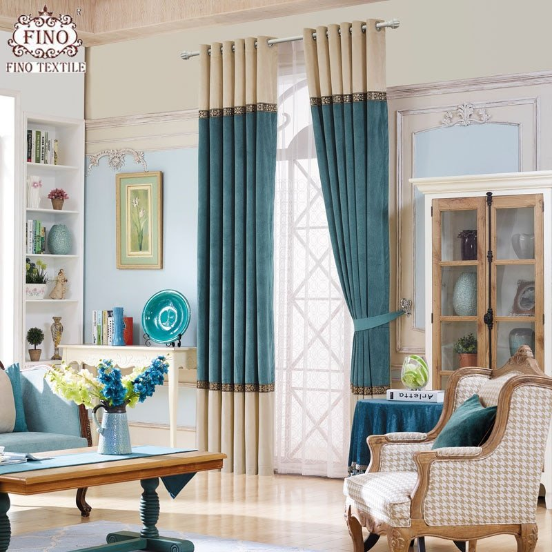 Contemporary Living Room Curtains Modern solid Window Curtains for Living Room Teal Curtain