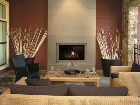 Contemporary Living Room Fireplace Apartment
