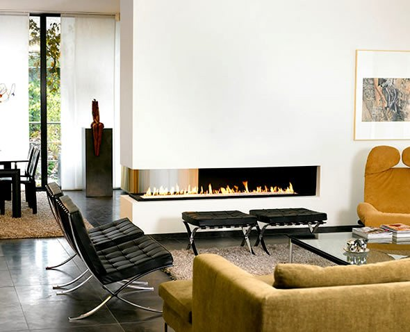 Contemporary Living Room Fireplace Interior Design with Modern Contemporary Two Sided