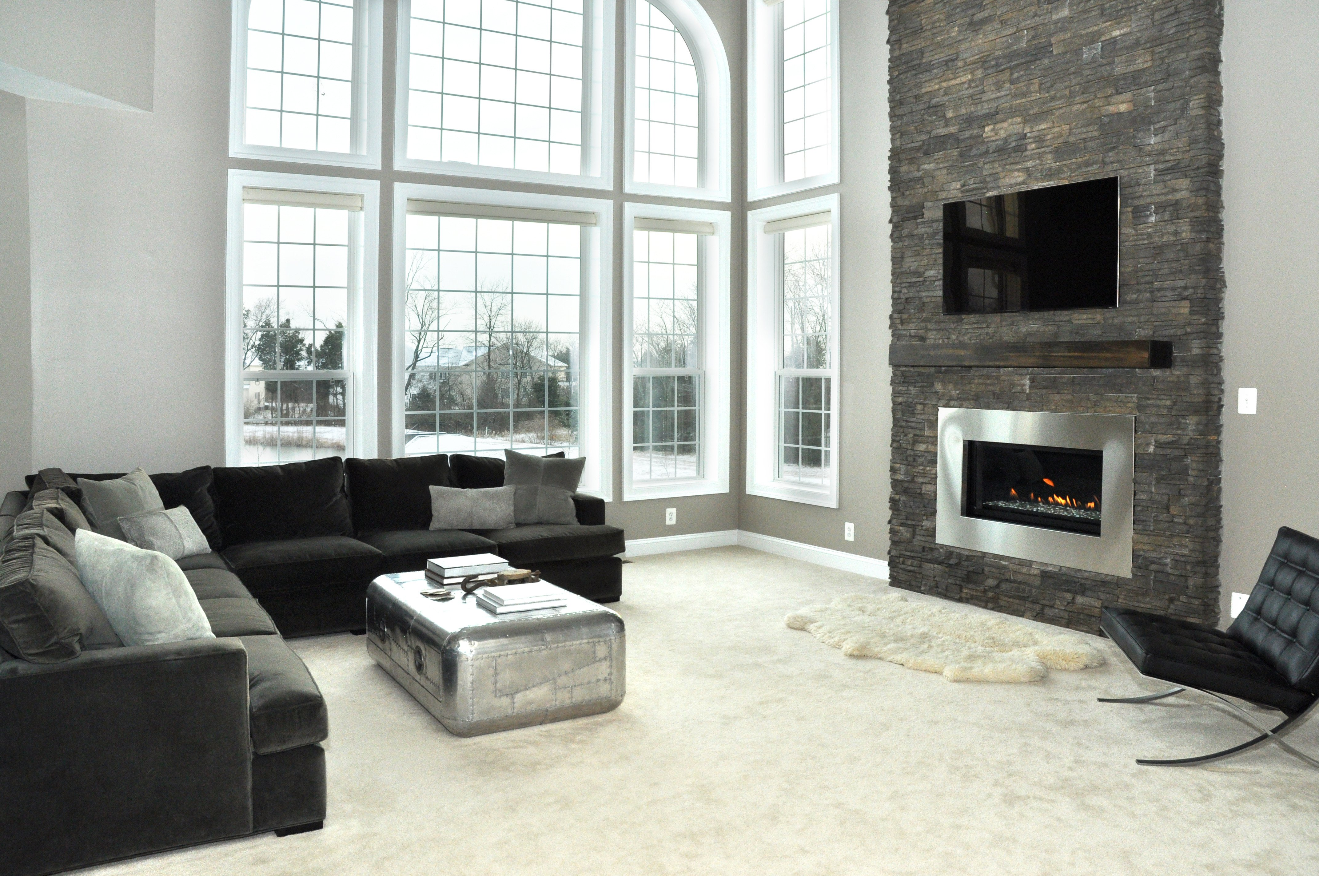 Contemporary Living Room Fireplace Modern Fireplace Renovation