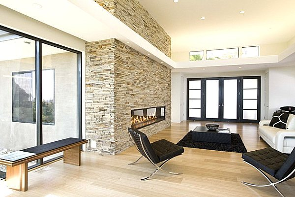 Contemporary Living Room Fireplace Stone Fireplaces Add Warmth and Style to the Modern Home