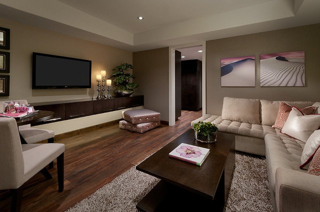 Contemporary Living Room Flooring Living area with Luxury Vinyl Plank Flooring