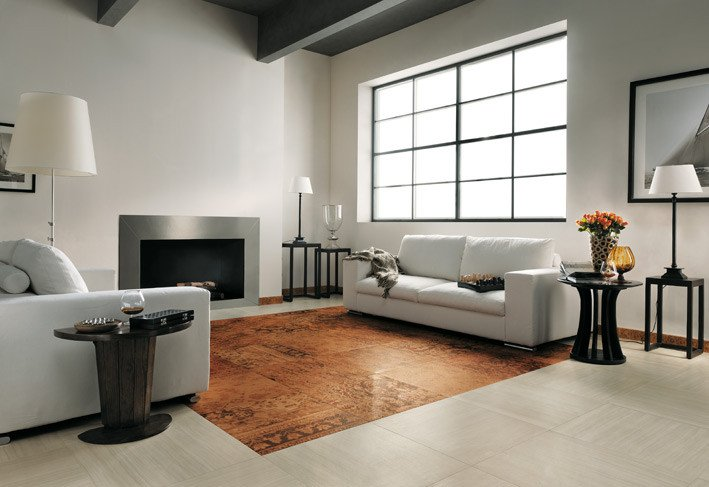 Contemporary Living Room Flooring top to toe Ceramic Tiles