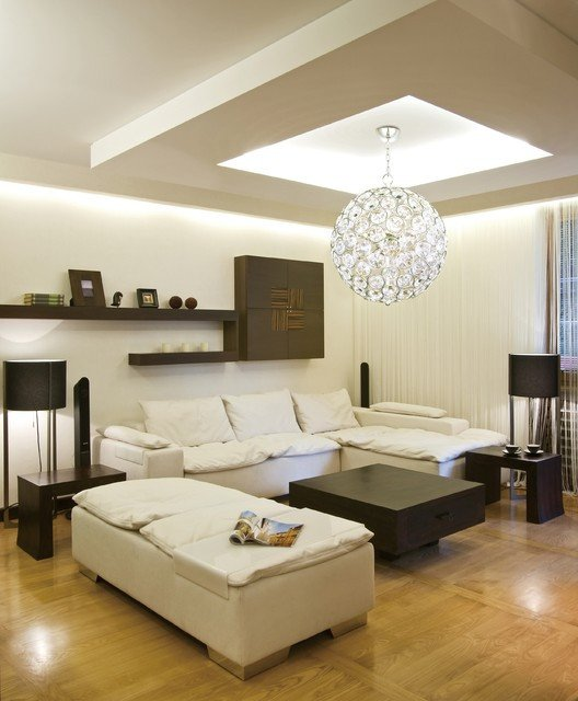 Contemporary Living Room Lights Brilliant Round Crystal Pendant Ball Chandelier Modern