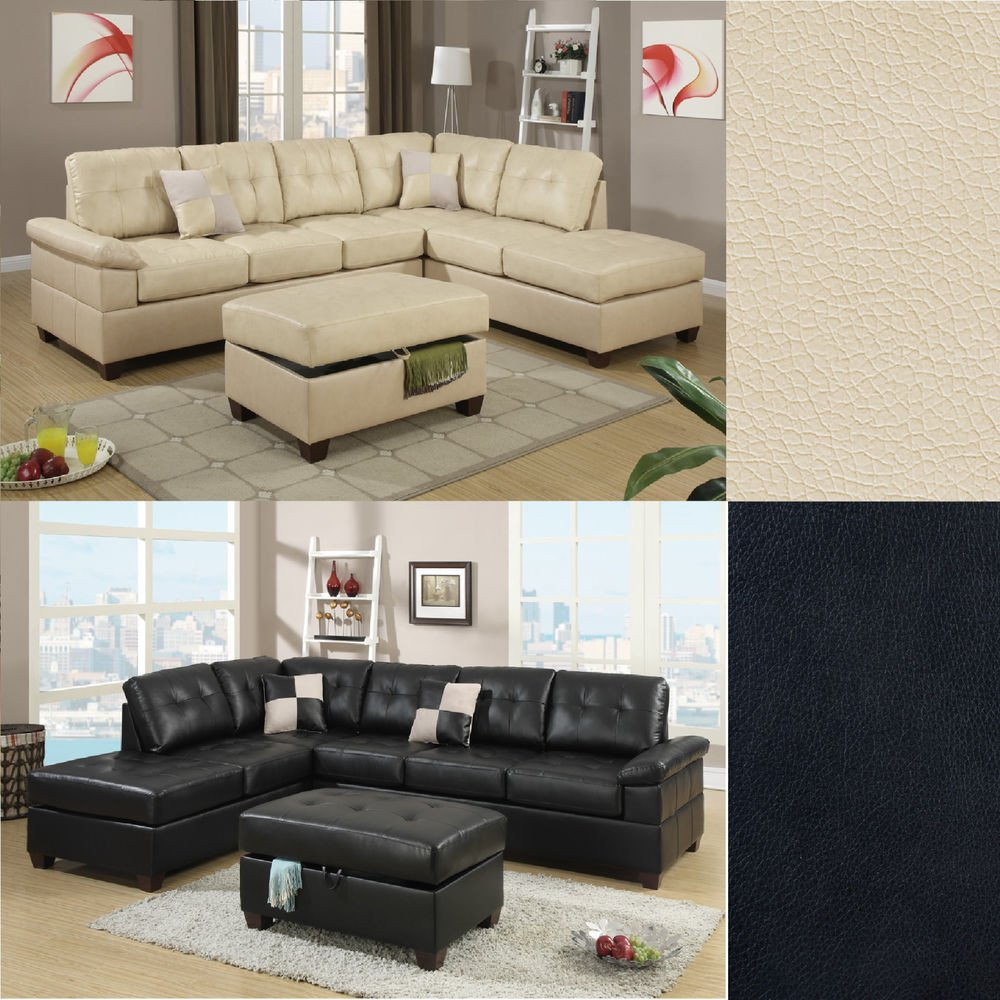 Contemporary Living Room sofas 2 Pcs Sectional sofa Couch Bonded Leather Modern Living
