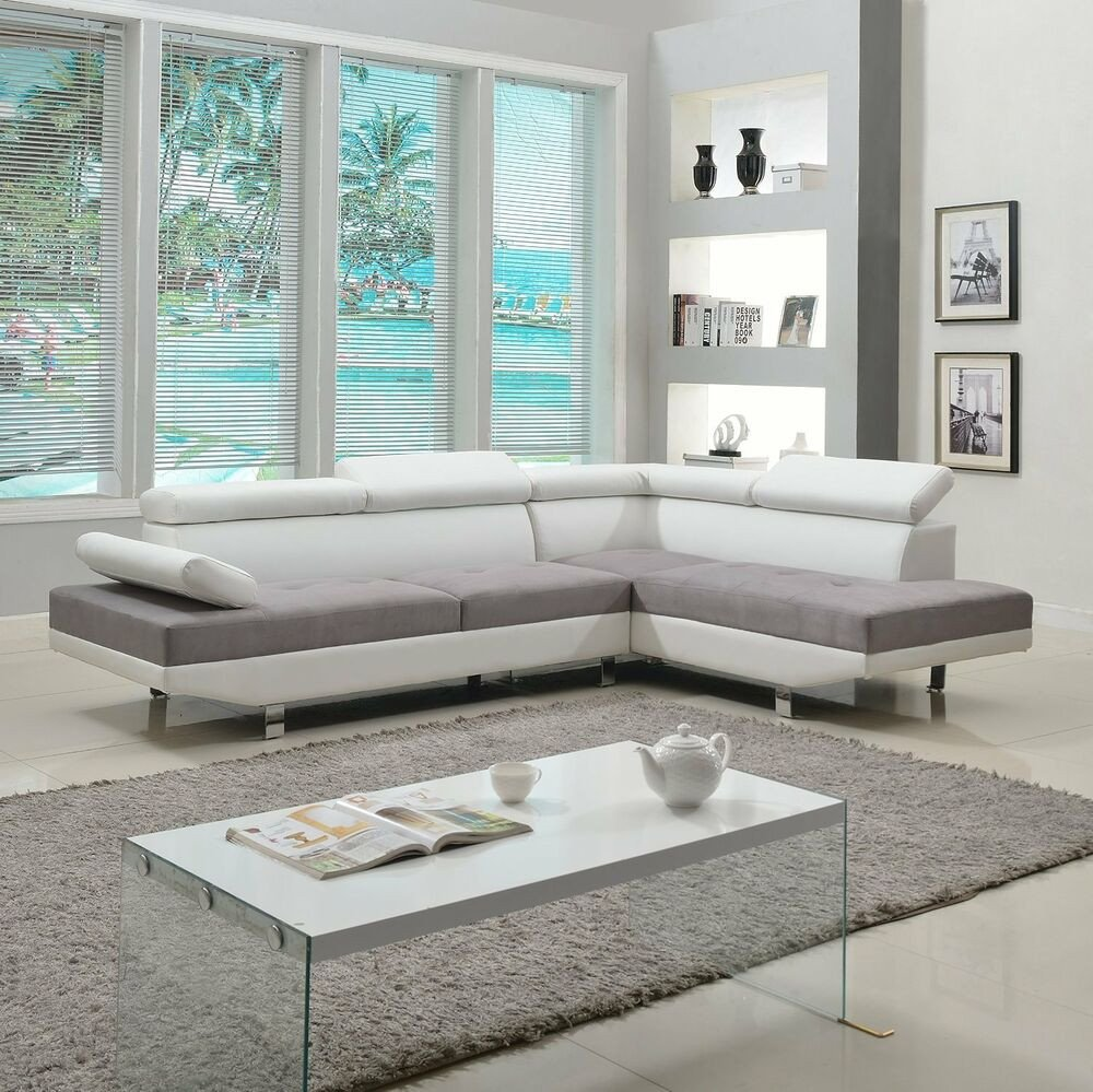 Contemporary Living Room sofas 2 Piece Modern Contemporary White Faux Leather Sectional