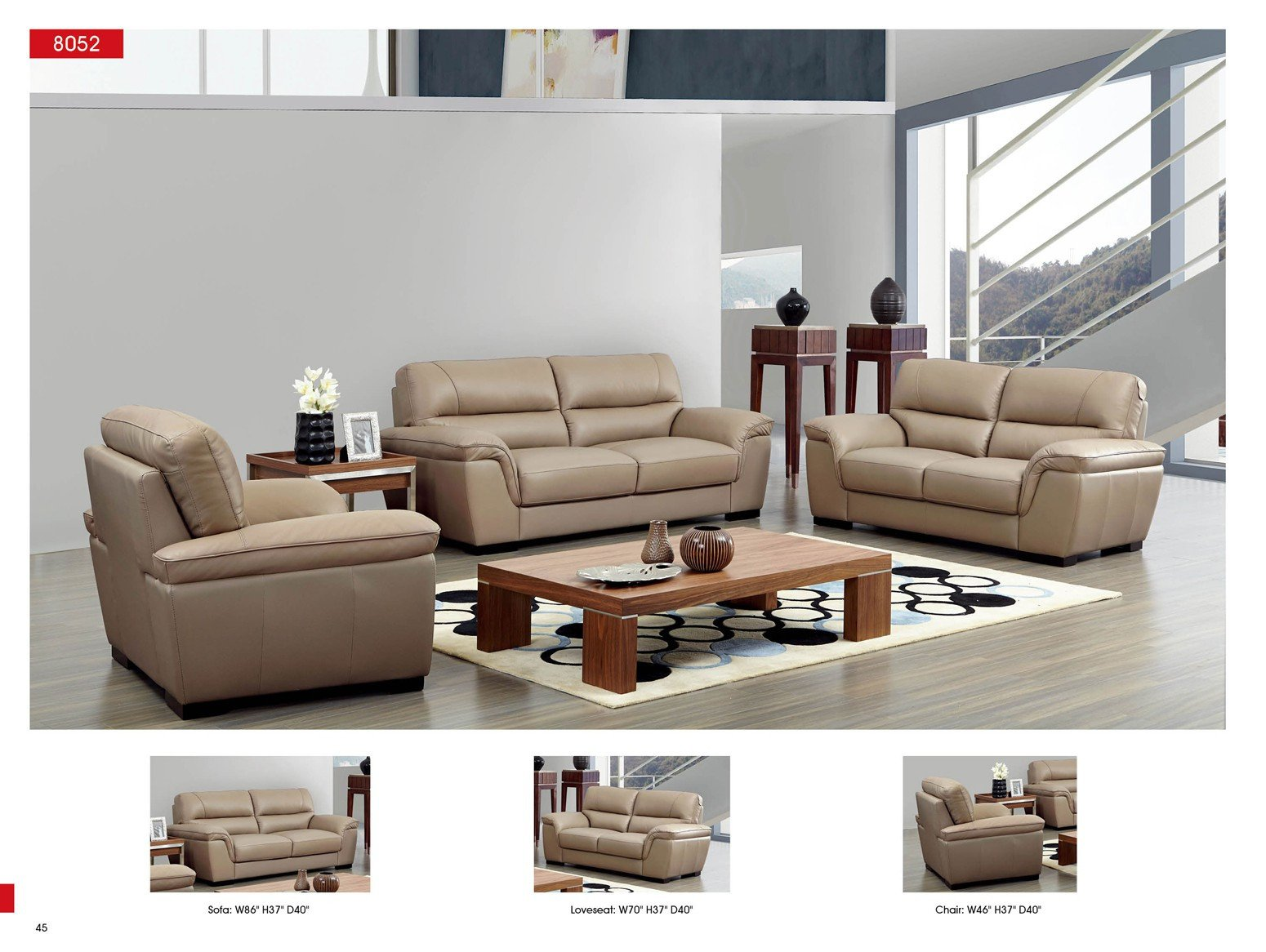 Contemporary Living Room sofas 8052 Leather sofa Esf Neo Furniture