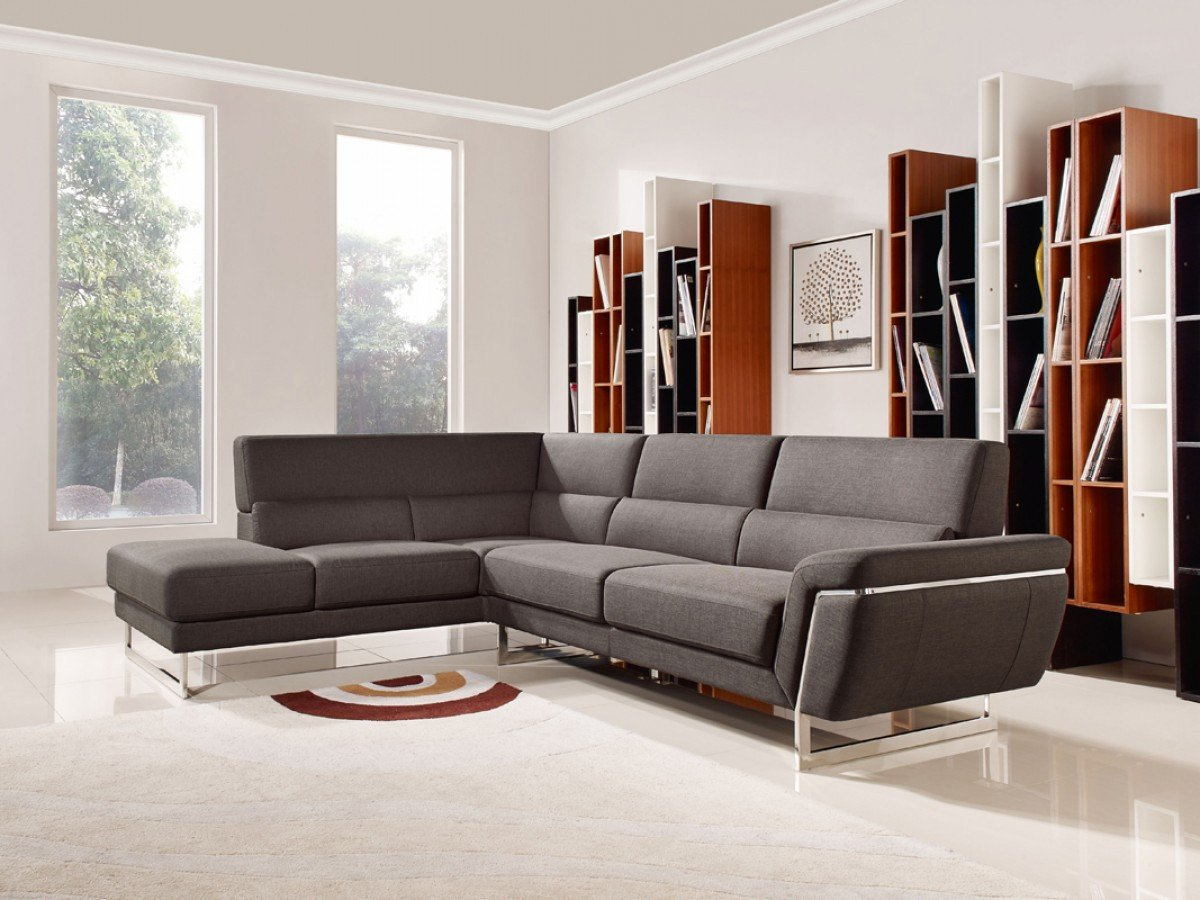 Contemporary Living Room sofas Divani Casa Navarro Modern Brown Fabric Sectional sofa