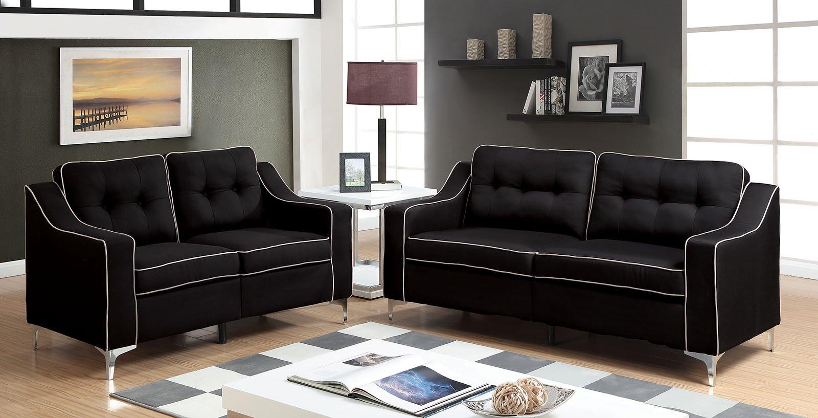 Contemporary Living Room sofas Glenda Contemporary Style Black Fabric sofa & Loveseat