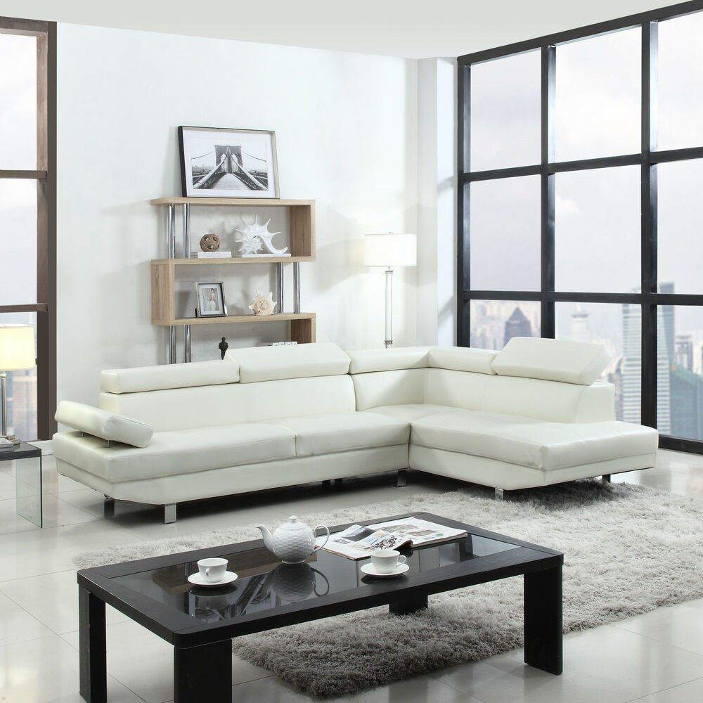 Contemporary Living Room sofas Modern Contemporary White Faux Leather Sectional sofa