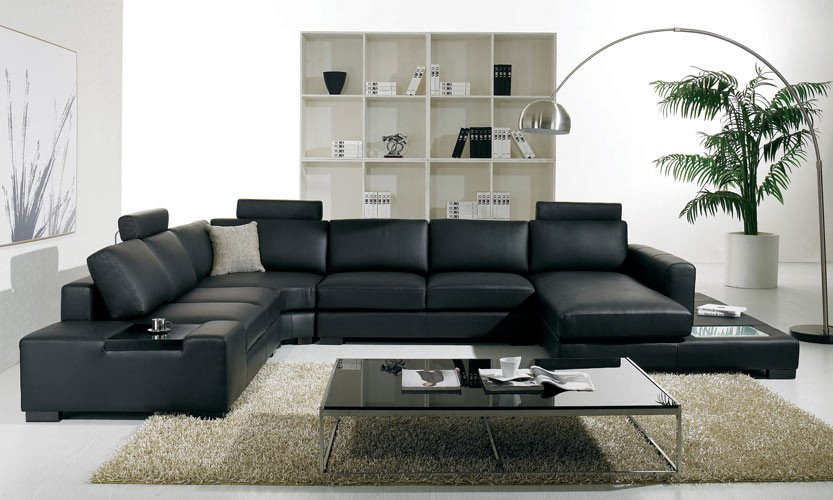 Contemporary Living Room sofas T35 Modern Black Leather Sectional Living Room Furniture