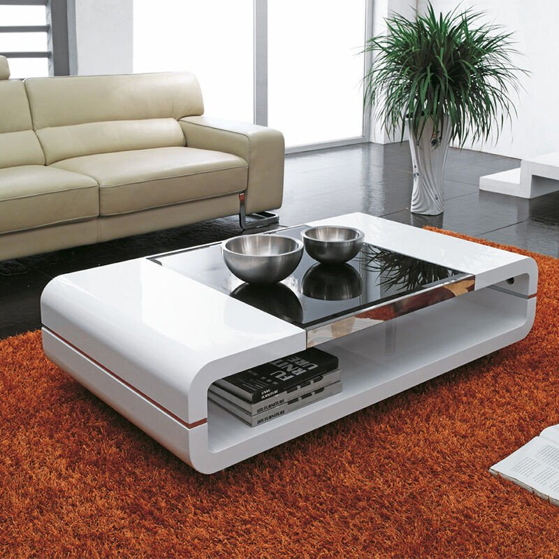Contemporary Living Room Tables Design Modern High Gloss White Coffee Table with Black