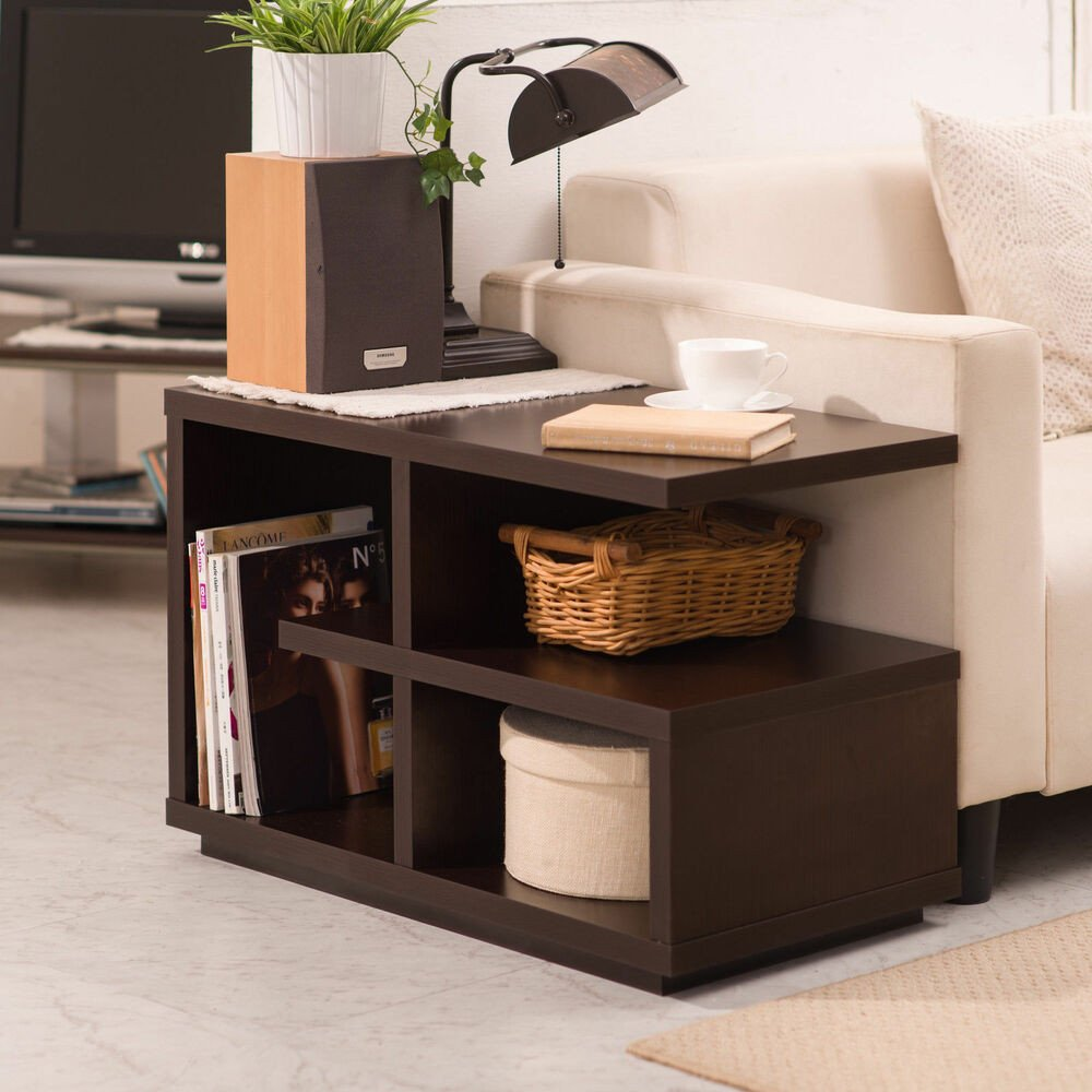 """Contemporary Living Room Tables Furniture Modern Walnut """"end Table"""" Living Room Accent"""