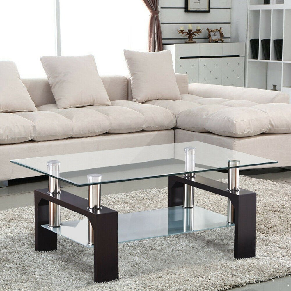 Contemporary Living Room Tables Modern Rectangular Glass Coffee Table Shelf W Leg Living