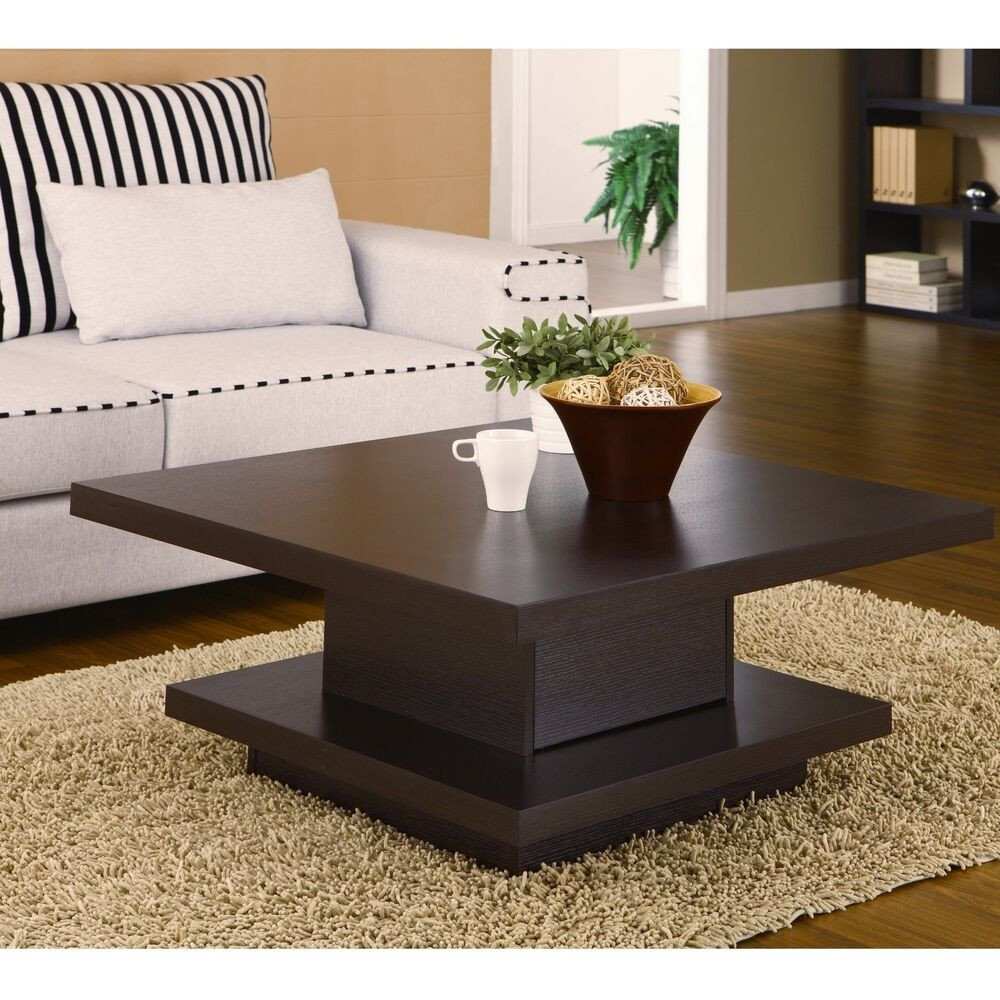 Contemporary Living Room Tables Square Cocktail Table Coffee Center Storage Living Room