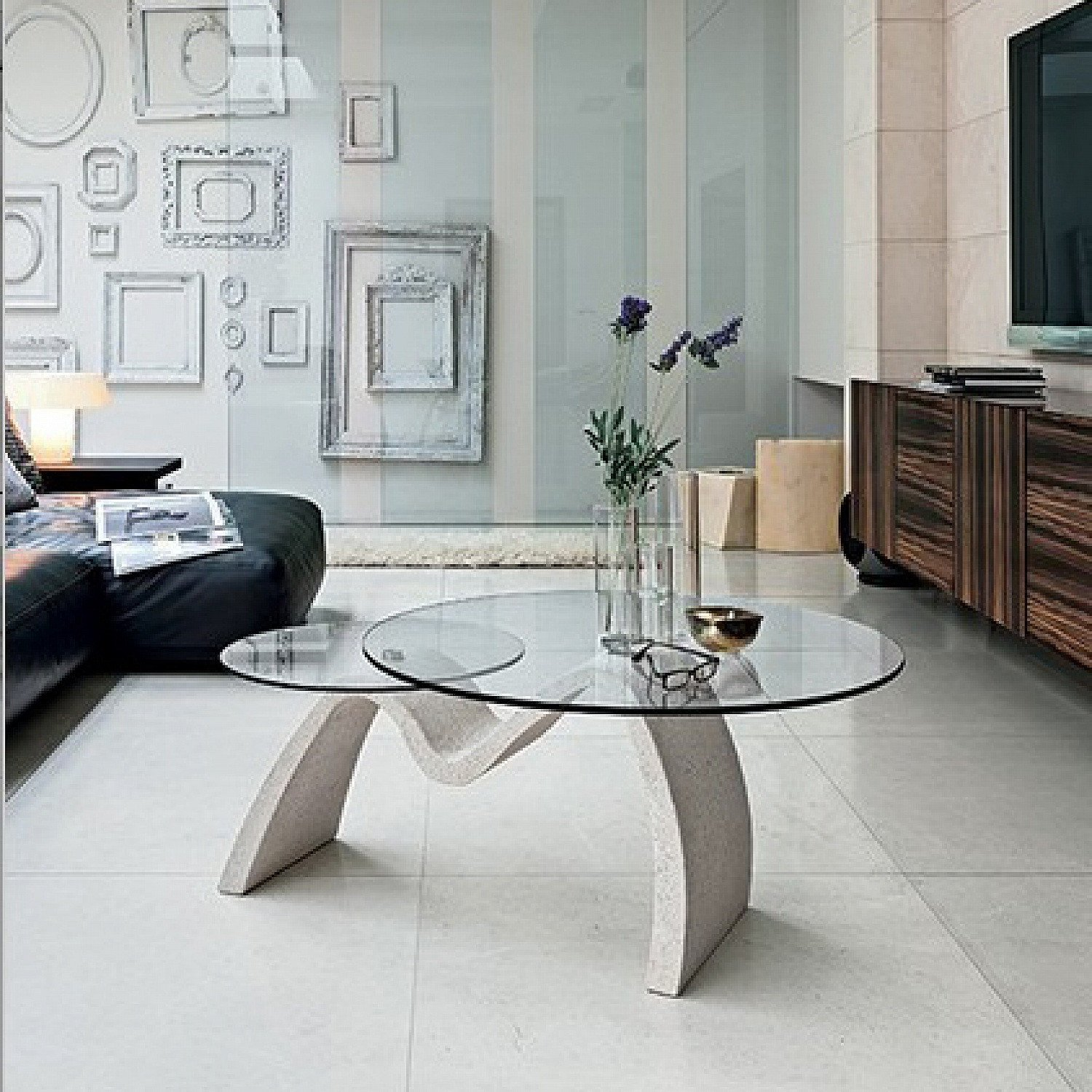 Contemporary Living Room Tables tomo Coffee Table with 2 Round Glass tops 111 X 80 H 44 Cm