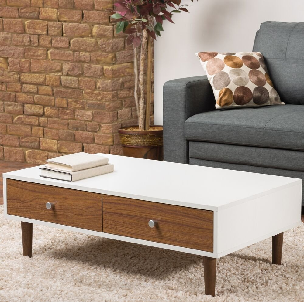 Contemporary Living Room Tables White Coffee Table Storage Drawer Modern Wood Furniture