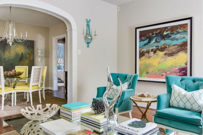 Contemporary Living Room Turquoise Aqua and Yellow Contemporary Living for the Home