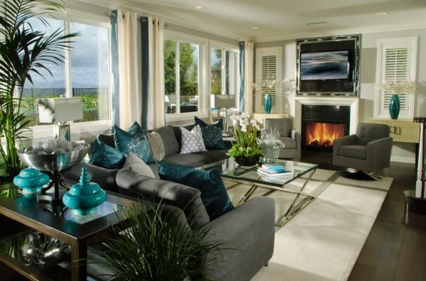 Contemporary Living Room Turquoise Decorating with Turquoise Colors Of Nature & Aqua Exoticness
