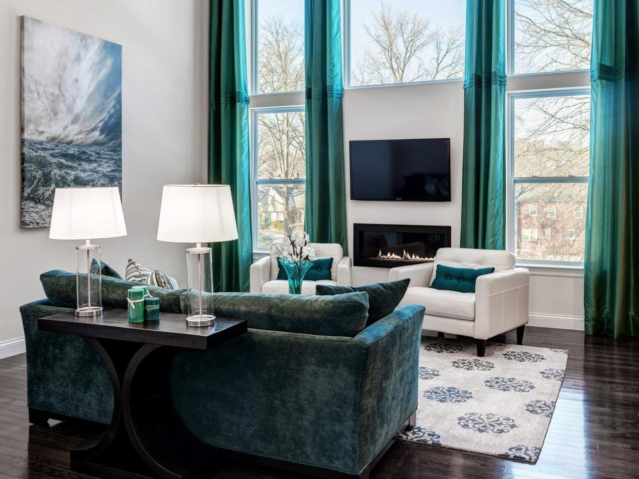 Contemporary Living Room Turquoise Elegant Turquoise Living Room