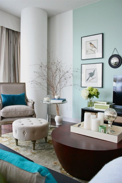 Contemporary Living Room Turquoise Pale Turquoise and Linen Living Room Contemporary