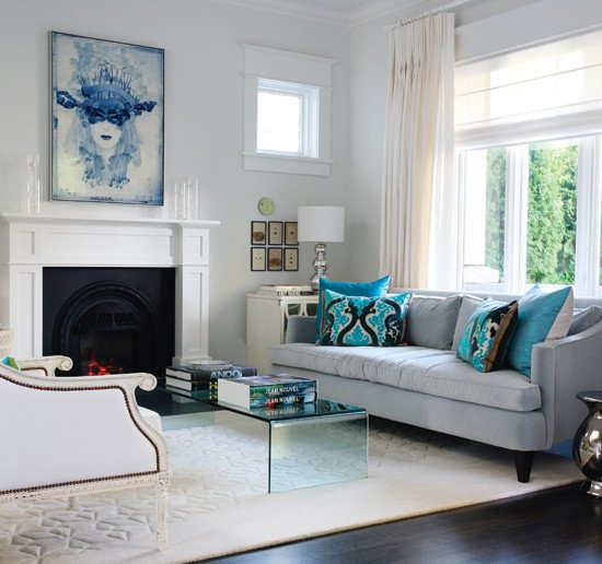 Contemporary Living Room Turquoise Turquoise and Gray