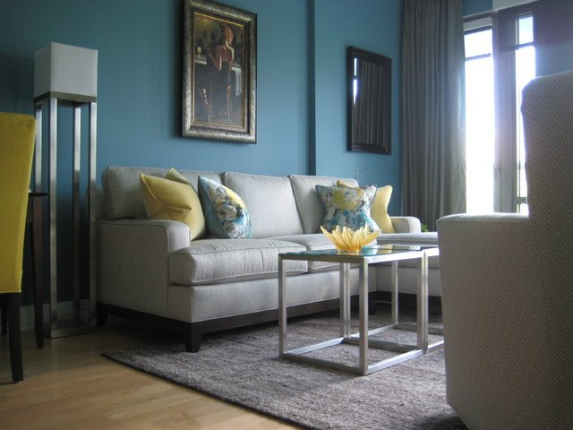 Contemporary Living Room Turquoise Turquoise and Yellow Living Room