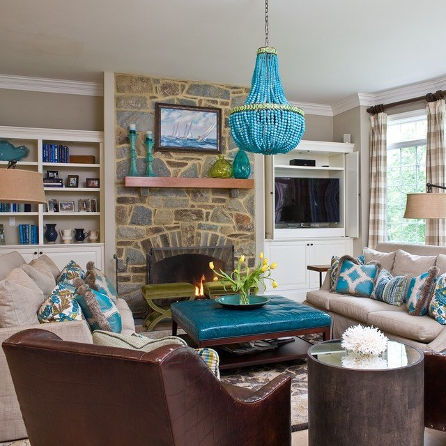 Contemporary Living Room Turquoise Turquoise