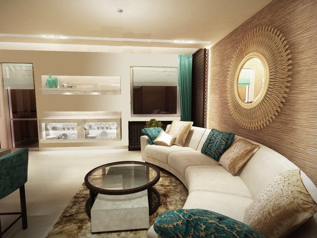 turquoise contemporary living room