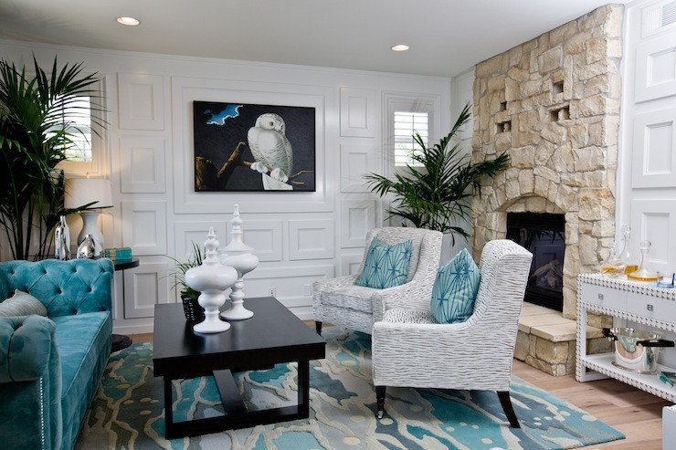 Contemporary Living Room Turquoise Turquoise Velvet Tufted sofa Contemporary Living Room