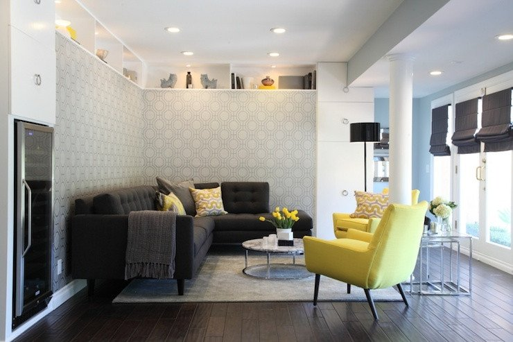 Contemporary Living Room Turquoise Yellow and Gray Living Room Contemporary Living Room