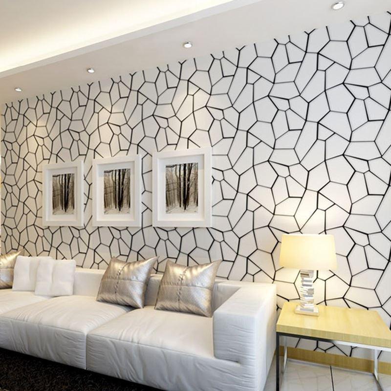 Contemporary Living Room Wallpaper Black and White Geometric Non Woven Wallpaper Modern