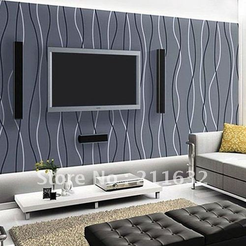 Contemporary Living Room Wallpaper Free Shipping Modern Striped Vinyl Living Room Tv