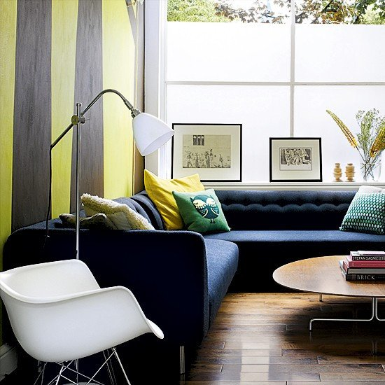 Contemporary Living Room Wallpaper Living Room with Striped Wallpaper