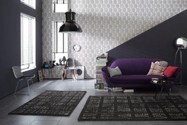 Contemporary Living Room Wallpaper Wallpaper Accent Wall