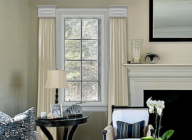 Contemporary Living Room Window Treatments Cornice Window Treatments
