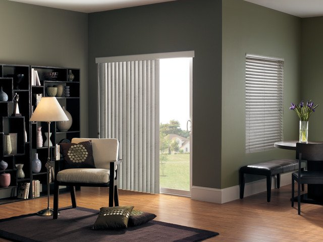 Contemporary Living Room Window Treatments Vertical Blinds for Sliding Glass Doors Modern Living